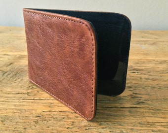 Rustic Brown Leather Card Holder