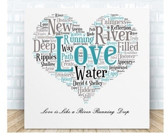 Love is Like a River Ceramic Plaque. Personalised Gift. Birthday, Christmas, Valentine's Day. Anniversary, Wedding