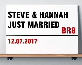 Wedding Personalised Street Sign - Just Married