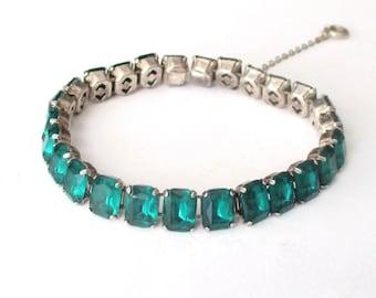 Deco Emerald Paste Sterling Silver Bracelet