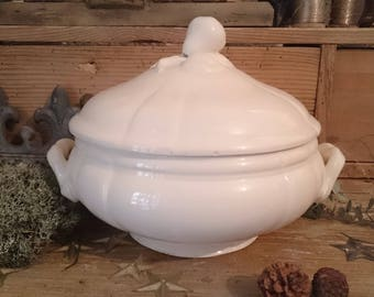 Antique french tureen Sarreguemines France ironstone