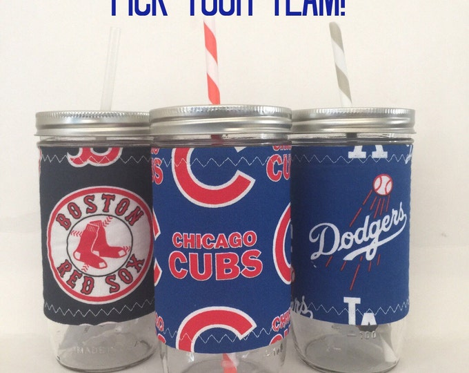 Baseball Pick Your Own Team 24oz Mason Jar Cozy BPA Free Swirl Straw - Travel Mug Great Gift