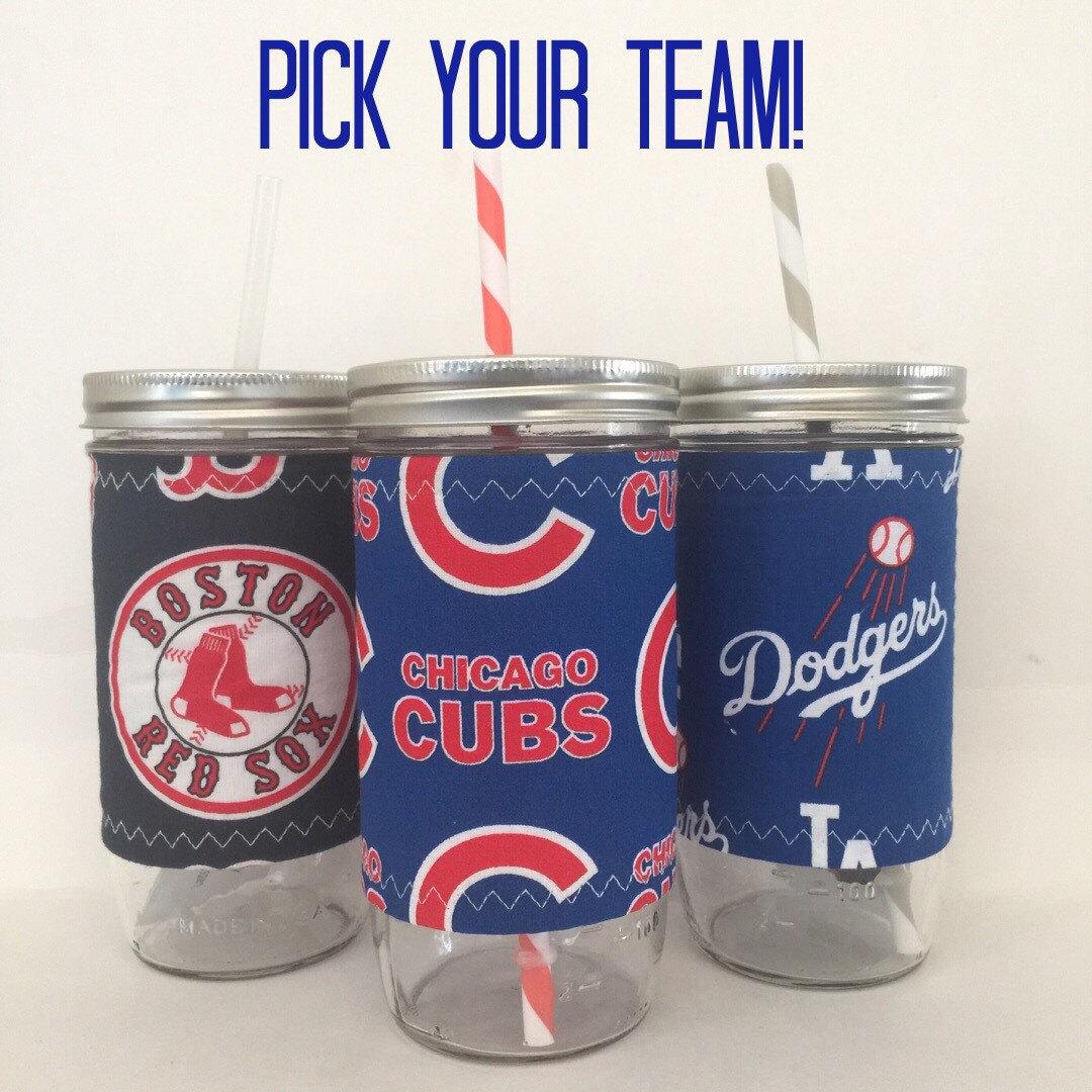 Baseball Pick Your Own Team 24oz Mason Jar Cozy BPA Free Swirl Straw - Travel Mug Great Gift