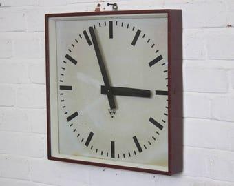 Red Industrial Factory Clock By Pragotron Circa 1960's