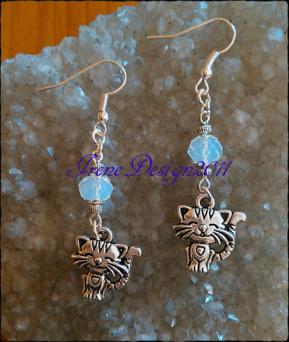 Facetted White Opal & Silver Cat Earrings by IreneDesign2011