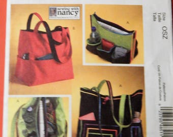 McCall's 4851 Sewing With Nancy totes pattern Uncut