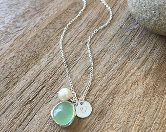 Personalized Peridot Necklace Initial Pearl Monogram Necklace 925 sterling silver Peridot Jewelry Hand stamped Letter Bridesmaid Gifts Pearl