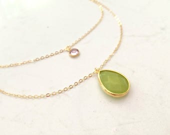 Peridot Necklace layered peridot necklace Peridot Jewelry Personalized Swarovski Birthstone Necklace Birthstone Jewelry Mother's Necklace