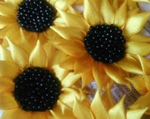 Handmade satin sunflower, 6 cm sunflower, satin ribbon sunflower, embellishment flowers