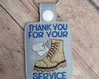 Thank You for Your Service - Military - Combat Boots, Dog Tags - Key Fob Design - DIGITAL Embroidery DESIGN