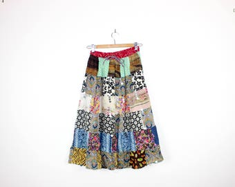 Patchwork Hippie Cotton Midi Skirt Festival Boho Bohemian Gypsy Mirror Sequins Elastic Waist Floral Paisley