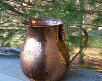 Hammered Copper Pitcher with Brass Handle