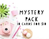 MYSTERY PACK of 10 Greeting Cards- Surprise Deal, Discount Card Set, Whimsical Stationary