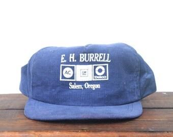 Vintage GM General Motors AC Delco Spark Plugs EH Burell Salem Oregon Corduroy Trucker Hat Snapback Baseball Cap