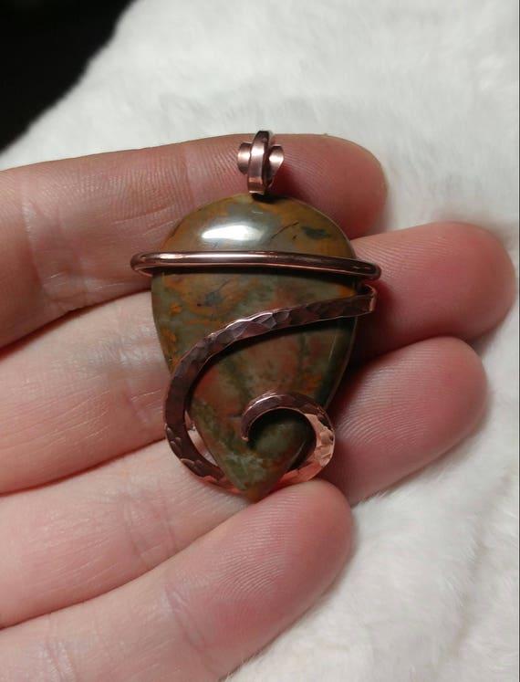 Picture Jasper Pendant | Rocky Butte Picture Jasper Pendant | Copper Pendant |  Picture Jasper Necklace | Oregon Picture Jasper Jewelry