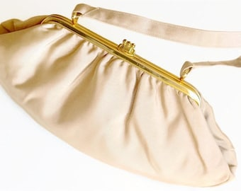 1950s/60s Evening Bag,Vintage Handbag Made in England,CFR Label,Beige Purse,Small Handbag or Clutch,Grosgrain Fabric Bag,Dressy Bag