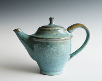 Handthrown teapot with copper glaze