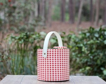Vintage Red Gingham Vinyl Ice Bucket / Red Gingham Picnic Ice Bucket / Red and White Kitchen