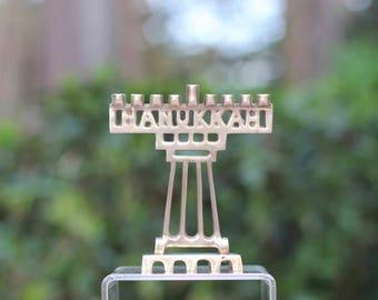 Small Vintage Brass Nine-Branch Menorah / Hanukkah, Judaica / Small Brass Menorah / Hanukkah Menorah / Tiny Menorah / Tiny Brass Menorah
