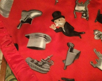 Old time Monopoly Pieces Fleece Blanket