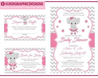 pink elephant tutu baby shower invitation kit
