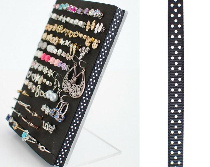 Post Earring Stand - Black & White Polka Dots Ribbon - Earring Organizer