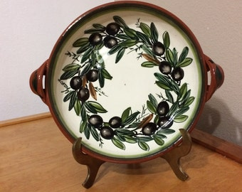 Italian Bowl - Hand Painted Olive Branch - Made in Italy - European Style - Pottery Art