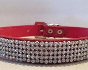 Red Faux Leather Rhinestone Dog Collar!