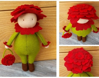 Floras: 3 cute flower dolls - DIY felt patterns
