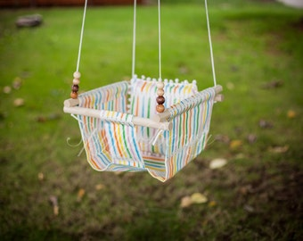 Baby Fabric Swing w/ Pom Pom Pilow. Indoor/Outdoor Baby/Todler Swing.