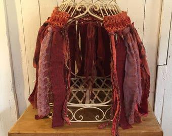 Tribal Skirt, Tattered Skirt, Festival Clothes,  Boho Gypsy Skirt, Burnt Orange Psy Trance Hippie Mini Skirt, Bohemian Skirt Pixie Skirt