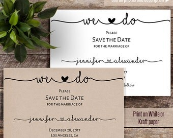Printable Save the Date, Wedding templates, Save the date card, Instant download self editable PDF S121