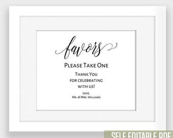 Printable Favors Sign, Wedding favors sign, black and white prints, Instant download self editable PDF BW124