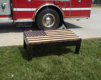 Rusctic American Flag table with hidden compartments for guns or storage.  New lower price!!