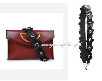 1Pc 90x4cm/35.4x1.57 inches Genuine Leather Single Shoulder bag handles Purse handle Flower Bag Strap Colorful Purse Guitar Strap