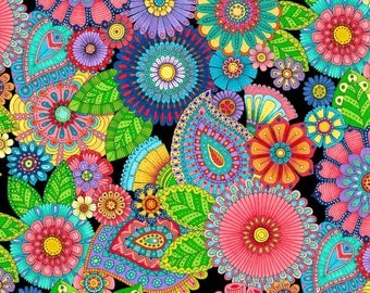 Colorful Paisley and Medallions, Night Bright, Hello Angel, Novelty Fabric, Wilmington Prints (By 1/2 yard)