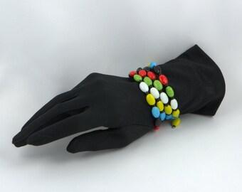 Glass Bracelet, Vintage Glass Beads, 1960's Glass Beads, Memory Wire Bracelet, Colourful Vintage Glass Beads