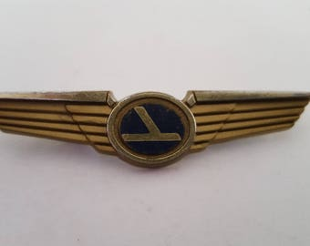 Vintage Eastern Airlines kids pilot wings, mid 1960's to 1970's fold under pinback, Stoffel Seals of Tuckahoe, NY