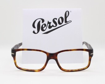 Persol rectangular tortoise coloured classic spectacle frames. Made in Italy. Designer, clear lens, optical, specs, eyeglasses.