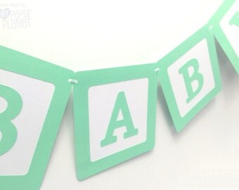 BABY Banner Mint Green & White. Baby blocks, baby shower, baby sprinkle, gender reveal, bunting, banner. New baby girl or baby boy.