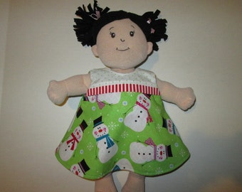 Baby Stella Doll 2 in 1 Reversible dress  for Baby Stella 15 inch baby doll snowman red and green chevron