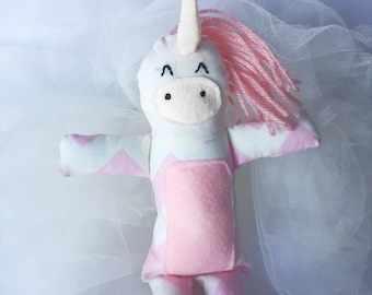 Ready to Ship // Sparkle Unicorn, Handmade Plush Doll, Fabric Rag Doll, Birthday gift, Baby Shower Gift, Toddler Gift, Nursery Decor