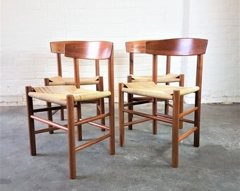 Borge Mogensen J39 OAK Paper Cord Dining Chairs Set of 4   FDB Mobler London Wimbledon , Danish chairs Scandinavian Hans Wagner