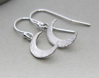 Moon Earrings, Silver Crescent Moon Earrings, Tiny Crescent Moon Earrings, Sterling Silver Earrings, Hammered Moon Earrings, Moon Jewelry