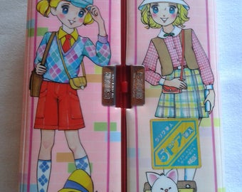 Vintage japan double pencil case, Kutsuwa, shoujo anime, big eye girl Happy Vacation pencil box