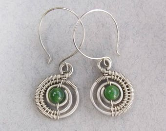 Earrings Spiral Wire wrapped Chrysoprase Gemstone earrings Romantic Gift for her Spiral jewelry Wire earrings