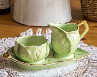 Rare Royal Winton Grimwades cabbage leaf creamer and sugar bowl set, 1960s