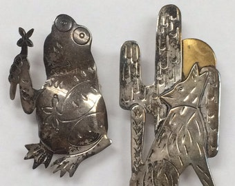 Vintage Lot of Two Sterling Silver Bolero Ties Frog and Coyote and Cactus!
