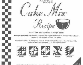 "Moda Cake Mix Recipe #1 ~44 Recipe Cards make 180 - 4"" finished half square triangles,Fast Shipping PT483"