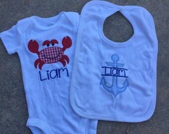 Crab and anchor applique onesie and bib set